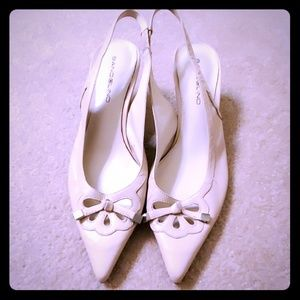 Bandolino kitten heel cream slingback shoes sz 8.5